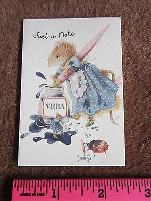 VERA THE MOUSE Just a Note MARJOLEIN BASTIN,ITTY BITTY GREETING CARD Hallmark