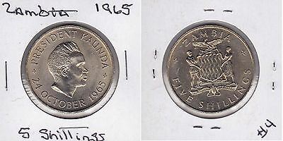 1965 Zambia 5 Shillings,1st Anniversary of Independence km #4 Unc.