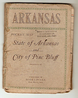 Pines Hotel, Pine Bluff, Arkansas Antique City And State Folding Map, March 1923