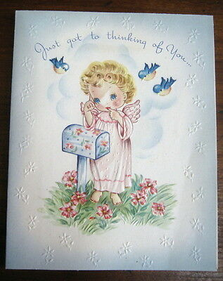 Vtg mid century greeting card, adorable angels bluebirds, unused