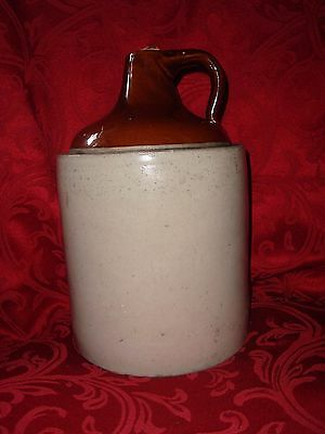 Vintage 1950's 1 Gal Stoneware Jug Crock Brown Cream Colors Country Cabin Decor