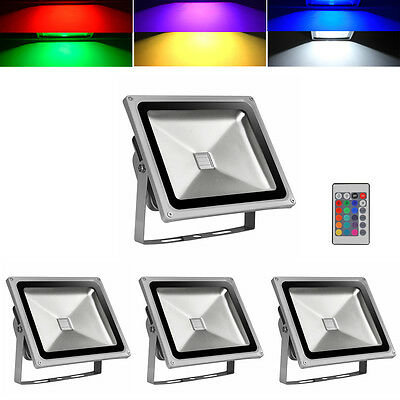 4X 30W Controler RGB LED Flood Light Outdoor Garden Security Lamp Color Changing