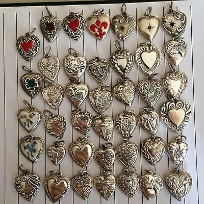 41 Vintage sterling silver puffed heart  charms, 7 enamel, 3 Stones