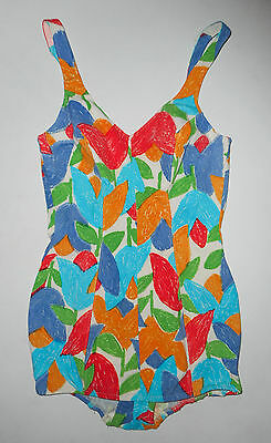 AMAZING Vtg 50s CATALINA Bathing Swim Suit * TULIP FLORAL * 1 pc Romper USA : Md