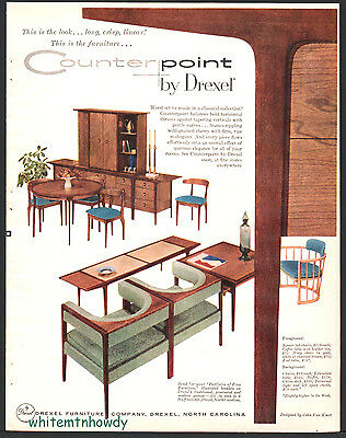 1956 DREXEL Counterpoint Dining Living Room Mid-Century Modern Furniture AD