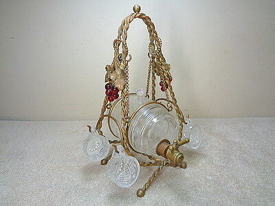 Antique Ornate Etched Glass Barrel Keg Decanter Dispenser w Stand & Glasses