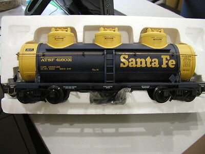 ARISTO CRAFT TRAINS Triple Dome Tank Car Santa Fe G Scale