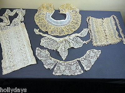 Antique Lace Lot Fine Bodice Collars Flounce Fancy Trim