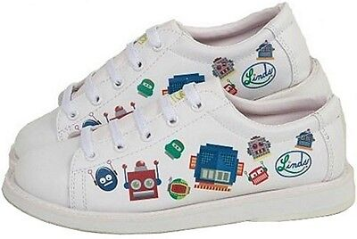 Youth Boys Linds Bot Bowling Ball Shoes Color White Size  Sizes 2 - 5