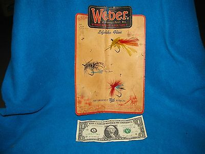 Fly Fishing Tackle Box bait Weber Fishing Fly On Store Display Card Original
