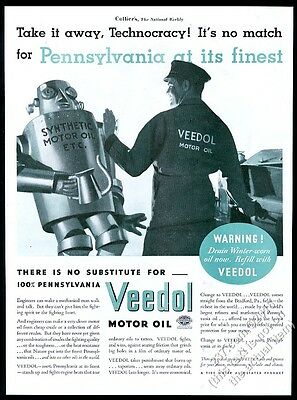 1933 bad synthetic motor oil robot pic Veedol Tide Water Oil vintage print ad