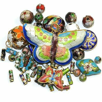 CL177 Assorted Color, Shape & Size 6mm-16mm Cloisonne Beads 1/oz Plus Butterfly