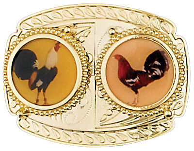 NEW! Two Roosters Belt Buckle, 3-7/8 x 3