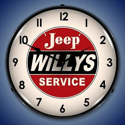"Jeep Willys Service Retro Vintage Style Lighted 14"" Wall Clock Garage Usa - New"
