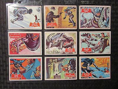 1966 BATMAN Topps Red Bat Trading Cards LOT of 9 VG/VG+ Puzzle Back #1 2 3 4 5-9