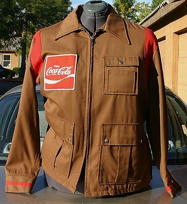 Vintage COCA COLA Brown Jacket With Patches Size 44M