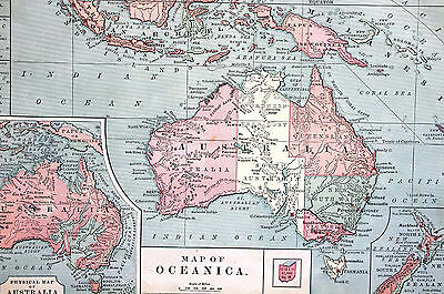 Antique Map of OCEANIA OCEANICA AUSTRALIA MALAYSIA NEW GUINEA PAPUA 1883 Matted