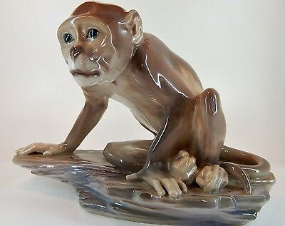 Dahl Jensen MONKEY ON ROCK # 1086 Figurine -Copenhagen Porcelain - Hard to Find