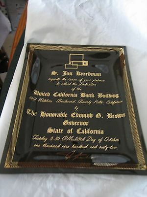 United California Bank Building Commemorative Plate 1962 /9601 Wilshire Blvd.