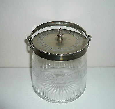 Antique Glass Intricately Etched Lidded Container