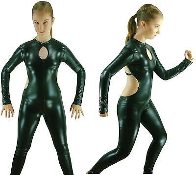 Black Wet-Look Jazz Contemporary Modern Dance Costume Catwoman Catsuit Size 8-10