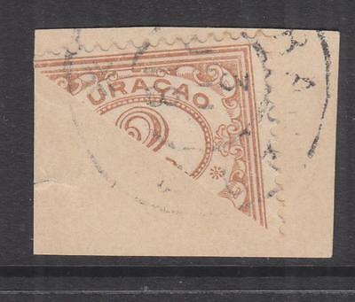CURACAO, 1916 Figures, 2c. Bistre, bisected on piece.