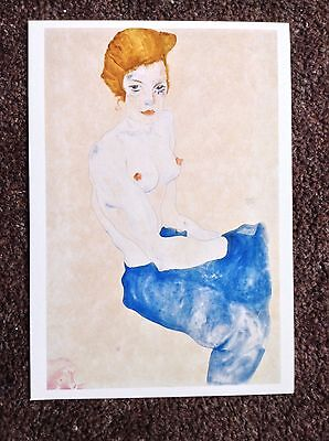 Egon Schiele Vintage POSTCARD 2003 Art Expressionism Seated Girl Blue Skirt Bare