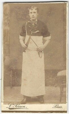 French CDV Carte des Visite of a Butcher in Apron with Knife + Honing Steel
