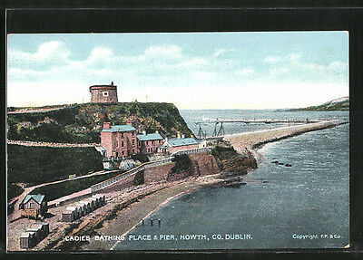 alte AK Howth, Ladies Bathing Place & Pier