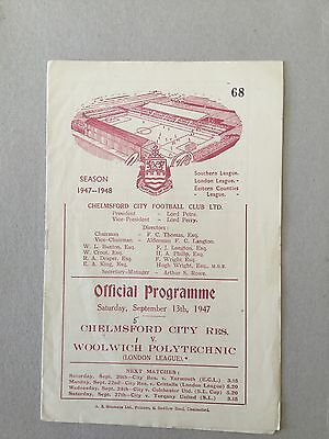 CHELMSFORD CITY Res v WOOLWICH POLYTECHNIC 1947/8.