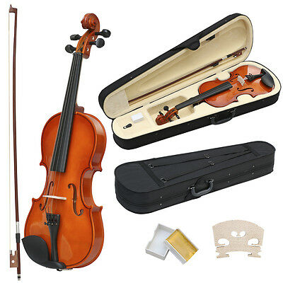 4/4 Full Size Acoustic Violin Set With Case&Bow&Rosin Cake&Bridge&Strings