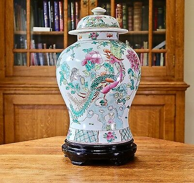 Substantial large chinese hand painted temple jar on wooden stand
