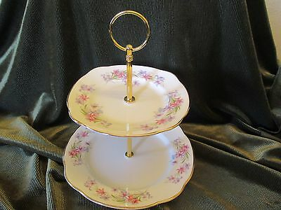 Lovely Vintage Duchess China Plated 2 Tier Cake Stand 'riversong'