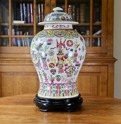 Substantial large chinese hand enamelled temple jar on wooden stand