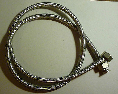 1500Mm S/steel Braided Dishwasher Water Supply Hose 10Mm Bore 1.5M Straight Ends