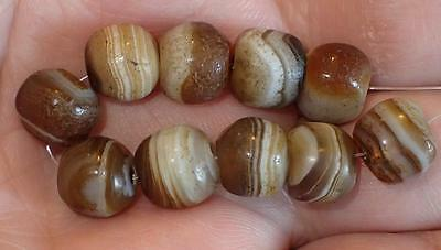 10 Ancient Tiny Rare Dzi Agate Beads, 2000+ Years Old, 9-9.5mm, #A5203