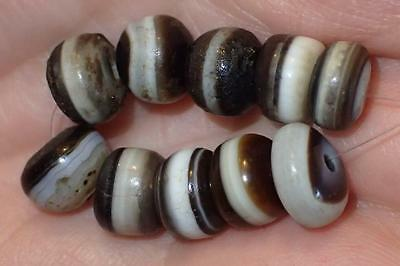 10 Ancient Tiny Rare Dzi Agate Beads, 2000+ Years Old, 8-9mm, #A5209