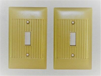 2 Vintage Bakelite Ivory Sierra Light Switch Outlet Plate Cover Nice Clean