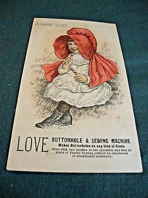 Victorian Trade Card For Love Buttonhole & Sewing Machine