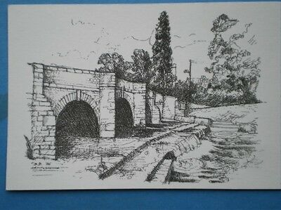 Postcard Herefordshire Leintwardine - The Bridge Pencil Sketch