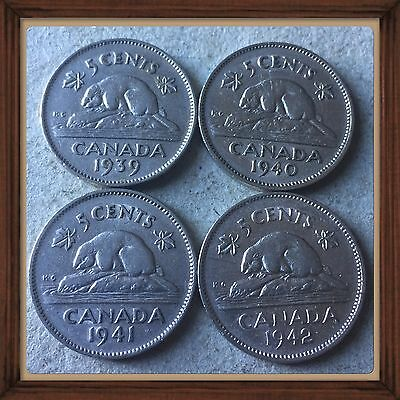 1939-1940-1941-1942   Canada five cents Canadian nickel Coins #524