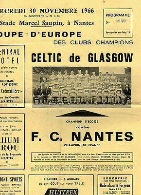 Nantes V Celtic  November 1966,very Rare, Road To Lisbon Programme.