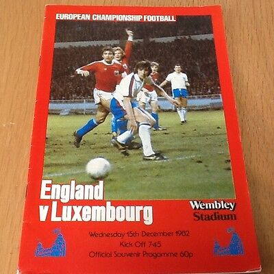 England v Luxembourg  football programme 1982
