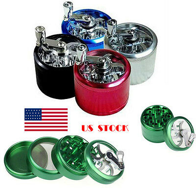 4 layer Hand Crank Herb Mill Crusher Tobacco Smoke Grinder Zinc Alloy US STOCK