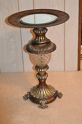 """20"""" Ornate 8 lb.Gold//Bronze/Copper Pedestal Table/ Candle/ Display/ Plant Stand"""