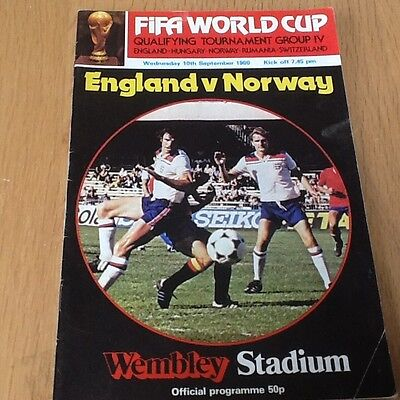 England v Norway football programme 1980