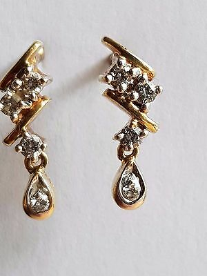 Sparkly, Elegant, Art Deco, 18 Ct Gold Earrings With Fine  3 Point Diamonds,