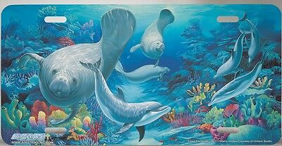 Manatee And Dolphin License Plate Car Tag .. Highly Detailed Top Quality