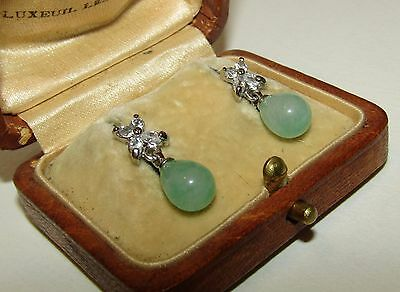 Charming, Antique, Chinese, 18 Ct White Gold Earrings/fine Jade And White Topaz