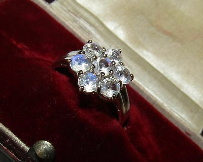 Magical, Art Deco, 9 Ct White Gold Ring With Lush Moonstones